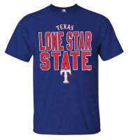 Fanatics Men's MLB Texas Rangers Alias Black Short Sleeve Crew Neck Shirt, Blue