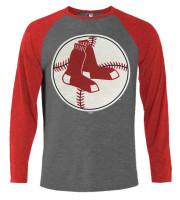 Fanatics Men's MLB Boston Red Sox Jumbo Logo Long Sleeve Crew Neck T-Shirt, Grey