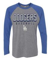 Fanatics Men's MLB Los Angeles Dodgers 8R1 Long Sleeve Crew Neck T-Shirt -Gray
