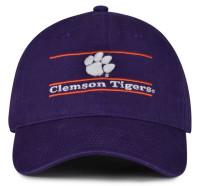 The Game Clemson University Tigers Paw Logo Bar Design Adjustable Cap – Purple