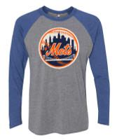 Fanatics Men's MLB New York Mets Jumbo Logo Long Sleeve Crew Neck T-Shirt, Gray
