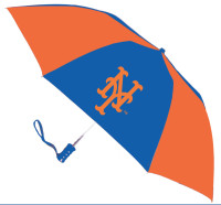 Storm Duds New York Mets 48 inch Automatic Folding Umbrella – Orange/Blue