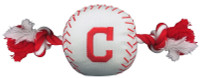 Pets First Cleveland Indians Nylon Baseball With Squeaker Rope Toy For Dogs