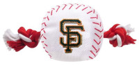 Pets First San Francisco Giants Nylon Baseball With Squeaker Rope Toy For Dogs