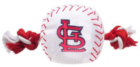 Pets First St Louis Cardinals Nylon Baseball With Squeaker Rope Toy For Dogs