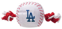 Pets First Los Angeles Dodgers Nylon Baseball With Squeaker Rope Toy For Dogs
