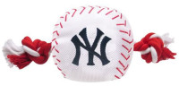 Pets First New York Yankees Nylon Baseball With Squeaker Rope Toy For Dogs