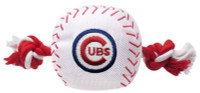 Pets First Chicago Cubs Nylon Baseball With Squeaker Rope Toy For Dogs