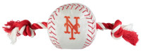 Pets First New York Mets Nylon Baseball With Squeaker Rope Toy For Dogs