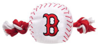 Pets First Boston Red Sox Nylon Baseball With Squeaker Rope Toy For Dogs