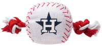 Pets First Houston Astros Nylon Baseball With Squeaker Rope Toy For Dogs