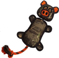 Pets First Realtree Flying Pig Sling shot Tough Nylon & Squeaker Dog Toy - Camo