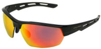 Rawlings QTS Men's Adult Sport Sunglasses– Black Frame With Red Mirror Lenses