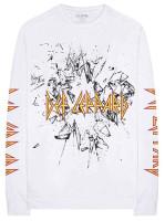 Men's Def Leppard Shatter Logo Long Sleeve Crew Neck Graphic T-Shirt – White