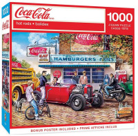 """MasterPieces Coca-Cola """"Hot Rods"""" Scene 1000 Piece Jigsaw Puzzle With Poster"""