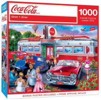 """MasterPieces Coca-Cola """"Diner"""" Scene 1000 Piece Jigsaw Puzzle With Poster"""