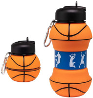 Maccabi Art Collapsible Silicone Basketball  Water Bottle, Expands To 18 Ounces