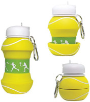 Maccabi Art Collapsible Silicone Tennis Ball Water Bottle, Expands To 18 Ounces
