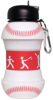 Maccabi Art Collapsible Silicone Baseball Water Bottle, Expands To 18 Ounces