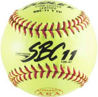 "Dudley SBC11 FP ASA Leather 11"" Yellow Fast Pitch Softballs, 1 Dozen. 4Y611"