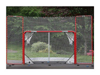 EZGoal 10' x 6' Steel Folding Hockey Goal with Backstop & Targets 67008