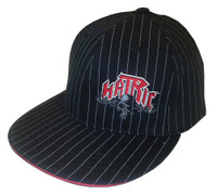 Hatric Hockey Dark Skull Flat Bill Urban Baseball Cap, Black Pinstripes