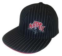 Hatric Hockey Dark Skull Flat Bill Urban Baseball Cap, Black Pinstripes