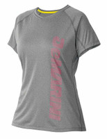 DeMarini Women's Yard-Work Vertical Wordmark Training Tee, Grey/Pink. WTD305871