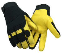Northstar Unisex Deerskin & Nylon Stretch Mechanic Sport Glove Black/Yellow. 18T