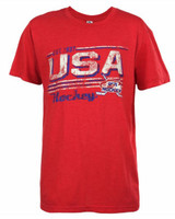USA Hockey Adult Ice Hockey Red Distressed USA Logo T-Shirt Tee, Red 14012H