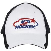 USA Hockey Adult Hockey Performance Mesh Logo Cap Hat, White Hook & Loop H16622