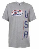 USA Hockey Adult Ice Hockey Vertical USA Logo T-Shirt Tee, Gray HG6116H