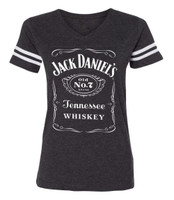 Jack Daniels Ladies Football Arm Stripe Short Sleeve T-Shirt, Gray 15361499JD-79