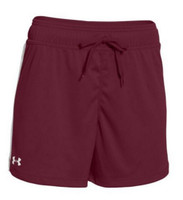 """Under Armour Women's Matchup Short White Stripe Loose Fit 5"""" Inseam 1276218"""
