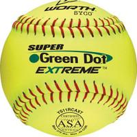 "Worth 11"" ASA Super Green Dot Slowpitch Softball 1 Dozen, YS11RCAXT"