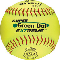 "Worth 11"" ASA Super Green Dot Slowpitch Softball 1 Dozen, YS11RCAXT"