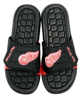 NHL Hockey Detroit Red Wings Slide Sandal Beach Shoe, Black/Red JVM0553BNH