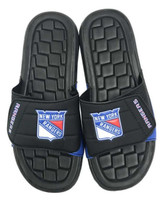 NHL Hockey New York Rangers Slide Sandal Beach Shoe, Black/Royal JVM0555BNH