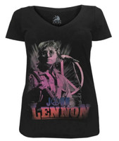 John Lennon Women's Pink Peace Guitar V-Neck Tee T-Shirt Black ZRJL1016