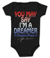 John Lennon Infant Toddler You May Say I'm A Dreamer Black ZRJL1034