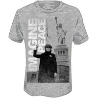 John Lennon Unisex Imagine Peace NYC Statue of Liberty Tee T-Shirt Gray JL1003