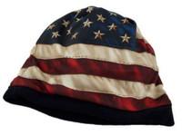 American Mills American Flag Design Beanie Knit Cap Hat Red/Beige/Blue AFB-01