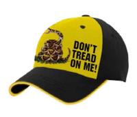 American Mills Rattle Snake Don't Tread on Me Baseball Cap Hat Gold/Black FH-13