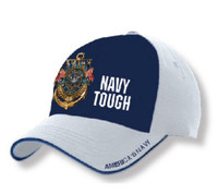 American Mills Military Navy Tough The Sea is Ours Baseball Cap Hat Blue FH-14