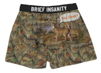 Brief Insanity Men's Yes Deer Buck Camo Commando Boxer Shorts Underwear 7020003