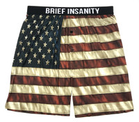 Brief Insanity Men's American Flag Commando Boxers Soft Silky Underwear 7020005