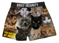 Brief Insanity Men's You Had Me At Meow Cat Boxers Soft Silky Underwear 7020009