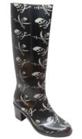 "AdTec Shaboom Women's 16"" Skull & Crossbones Rubber Fashion Heel Rain Boot 8475"