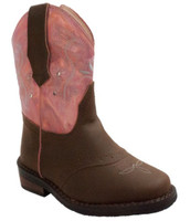 Adtec Case IH Western Light Up Cowboy/Girl Boot Faux Leather Brown/Pink CI-5017