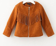 Girls Faux Suede Fringe Jacket (10, Brown